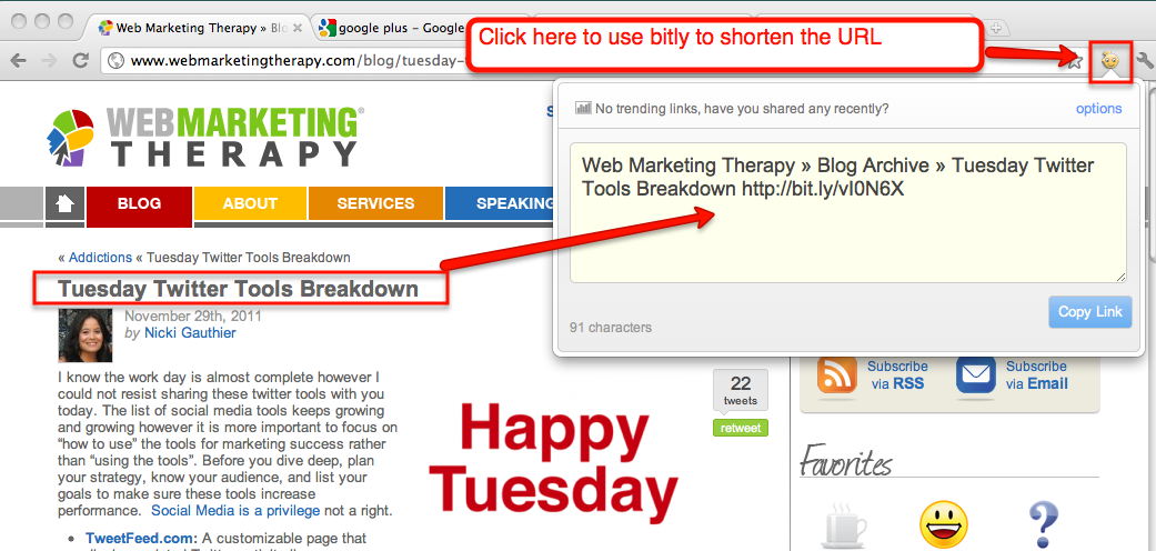 Google Chrome and Bitly extension